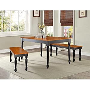 Better Homes and Gardens Autumn Lane Farmhouse Bench, Black and Oak,Wood