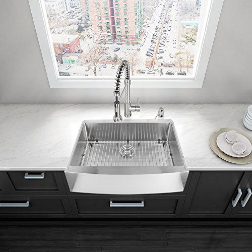 VIGO 30 inch Farmhouse Apron Single Bowl 16 Gauge Stainless Steel Kitchen Sink with Edison Stainless Steel Faucet, Grid, Strainer and Soap Dispenser by Vigo