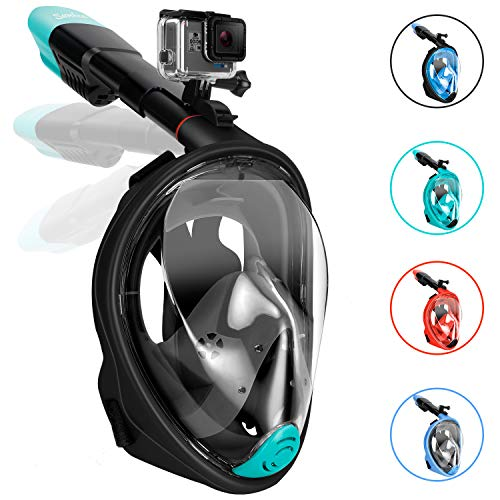 Gpeng Sunhoo Full Face Snorkel Mask, Foldable Snorkeling Mask with Detachable Camera Mount, 180° Panoramic View Diving Mask Dry Top Set Anti-Fog Anti-Leak for Adults