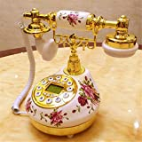 HomJo Push Button Telephone Vintage Antique Style Resin metal body Corded Telephone Home Living Room Decor
