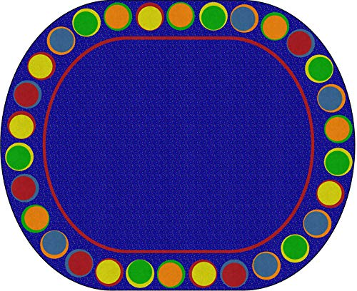 Flagship Carpets FE307-59A Sitting Spots Primary (Seats 30) Children's Classroom Seating Rug, Oval, 10'9