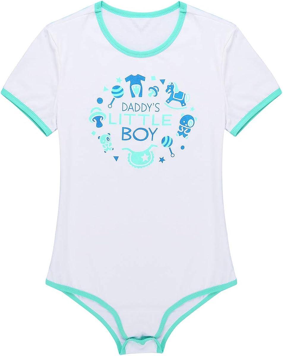 Aislor Mens Adult Baby Mommys Little Boy Print Rompers Press Crotch Leotard Bodysuit Pajamas Sleepwear