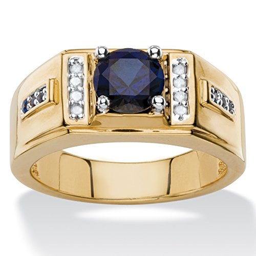 Midnight Blue Sapphire (Men's Lab Created Midnight Blue Sapphire and Diamond Accent 14k Gold-Plated Ring Size 9)