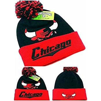 9bfd5ce9b96 Chicago Leader New Knit Beanie Toque Pom Bulls Colors Head Black Red Cuff Era  Hat Cap