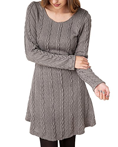 HAPEE Women's Crewneck Knitted Long Sleeve Sweater Dress , Gray , Medium