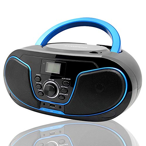 LONPOO CD Player Portable CD Boombox with FM Radio/USB/Bluetooth/AUX Input and Earphone Jack Output with Stereo Sound Speaker Audio Player (Best Boombox Cd Player)