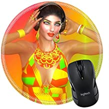 MSD Mousepad Round Mouse Pad/Mat 24865990 Girl with headphones on gradient