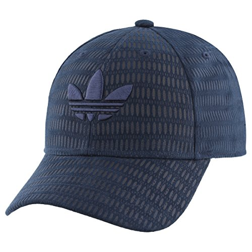 adidas Men's Originals Trefoil Plus Precurve Structured Cap, Collegiate Navy Suede Deboss, One Size