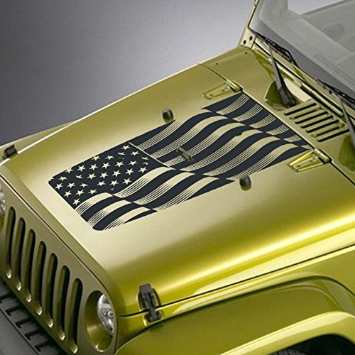 Jeepazoid Jeep Wrangler USA Flag Blackout Hood Sticker