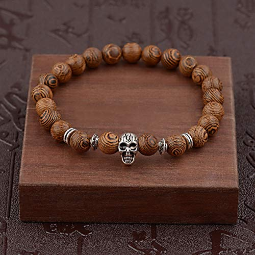 Hebel 8MM Wooden Beaded Crown Buddha Lion Beaded Bracelet Jewelry Stretch Bangle New | Model BRCLT - 31934 |