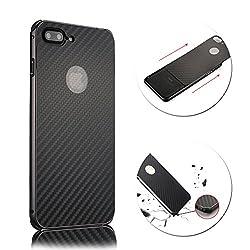 For iPhone 8 7 Plus Case, Vandot Luxury Carbon Fiber Line Texture Hard PC Ultra Slim Thin Back Case Shock Absorbing Drop Protection Bumper Protective Case Cover Lightweight Anti-Slip Case-Black