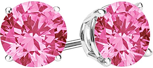 1/2 Carat Total Weight Pink Sapphire Solitaire Stud Earrings Pair 14K White Gold Popular Premium Collection 4 Prong Push Back ()