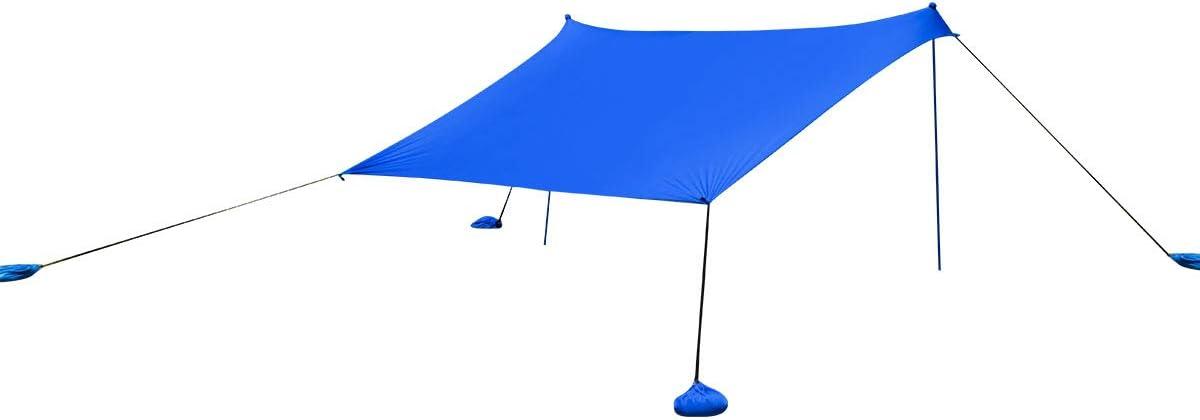 Costway Tente de Plage Grand Auvent de Plage Portable 300 x 280 CM 6 Personnes avec Sac de Transport Abri Anti UV Famille UPF50+ avec Ancres Bleu Id/éal pour la Plage Le Camping et la P/êche