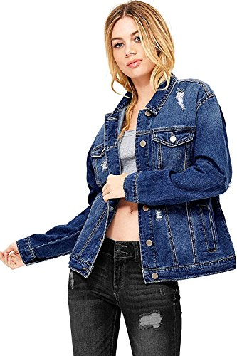 Wax Women's Oversize Fit Boyfriend Jean Jacket (3X, Dark Denim)