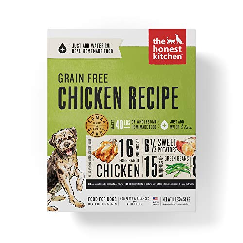 Honest Kitchen Human Grade Dehydrated Grain Free Chicken Dog Food 10 lb Box Force