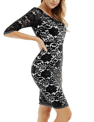 Vestido Cóctel para Encaje Bodycon Fiesta para Floral Negro Vestido Boda con Mujer para Vintage Larga con Manga FTnOE