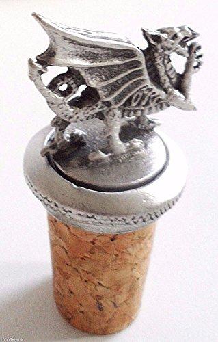 (Wales Welsh Dragon Cork & Pewter Wine Spirits Bottle Stopper Stop)
