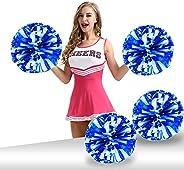 Pack of 4 Cheerleading Pom Poms 12 inch 80g Foil Plastic Metallic Cheerleader Pom Poms for Cheer Sport Kids Ad