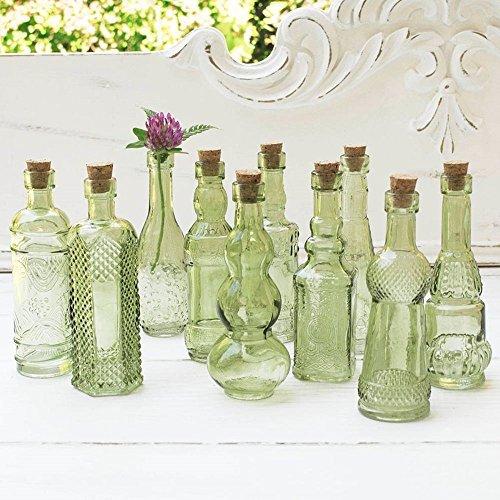Vintage Glass Bottles with Corks, Bud Vases, Assorted Shapes, 5 Inch Tall, Mini Vases, Set of 10 Bottles, (Green) (Vase Bud Vintage)