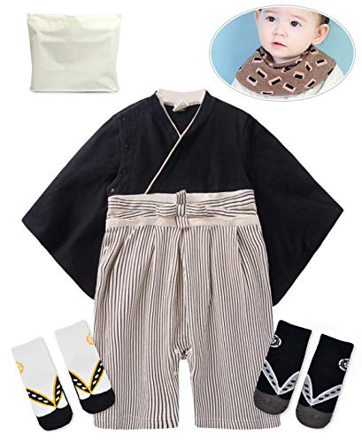 Baby Kids boy Japanese Hakama Style Coverall Kimono Robe Rompers bib Geta Style Socks Set(8-15 Months Black)