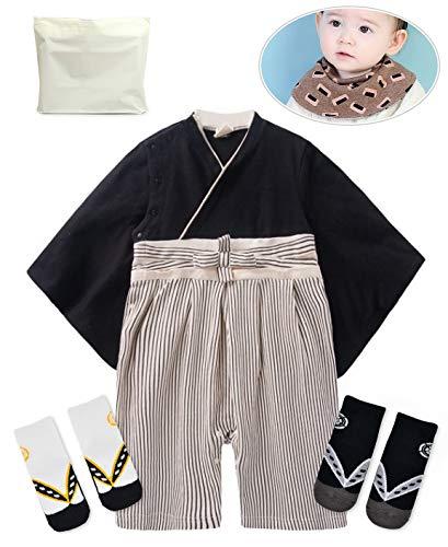 Baby Kids boy Japanese Hakama Style Coverall Kimono Robe Rompers bib Geta Style Socks Set(8-15 Months Black)]()