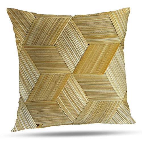 Bamboo Woven Throw (Batmerry Striped Pillow Covers 18x18 Inch, Bamboo Nature Woven Abstract Bamboo Basket Weave Backdrop Brown Double Sided Decorative Pillows Cases Throw Pillows Covers)