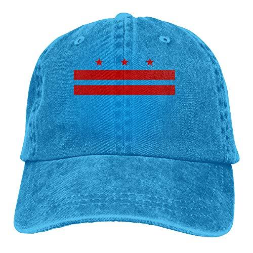 Unisex Baseball Cap Flag of Washington D.C. Vintage Jean Snapback Cap for Men Blue ()