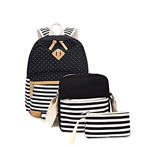 Abshoo Causal Girls School Bookbags Canvas Rucksack Backpack For Girls Backpacks Set (Black Stripe)