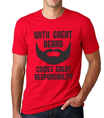 SignatureTshirts Men's with Great Beard Comes Great Responsibility T-Shirt (X-Large, Red)