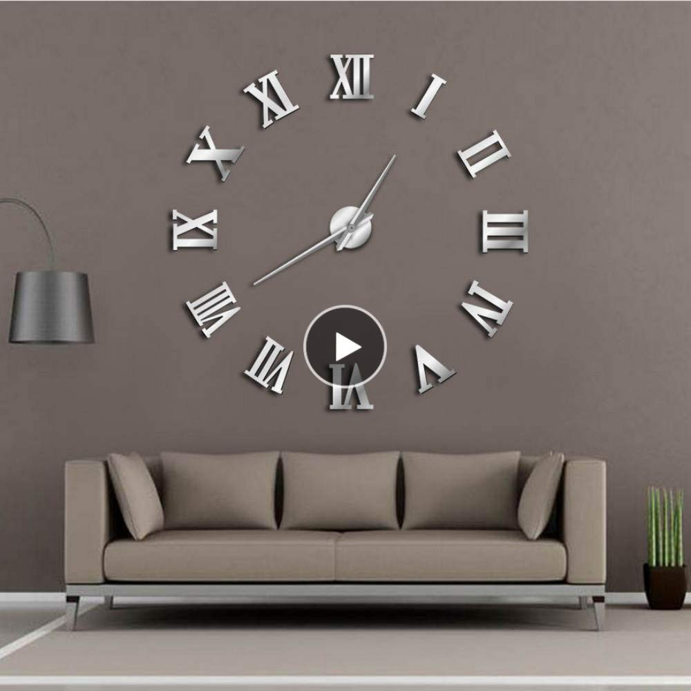 Modern DIY Number Wall Clock Decoration 3D Mirror Surface Sticker Home Decor S//L