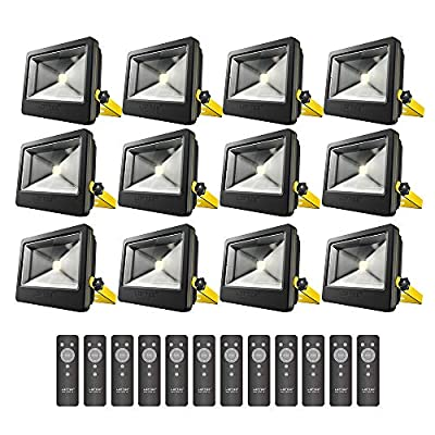 LOFTEK 50W Daylight White Floodlight,12-Pack, Super Bright Outdoor LED Flood Light, 6500 LM, High Powered Waterproof Security Spotlight with Timer Function, Black