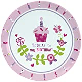 C.R. Gibson Porcelain Cake Plate, By Gibby & Libby, Smash Cake, Birthday Celebration Plate, Dishwasher Safe, Plate Measures 8'' - Birthday Girl