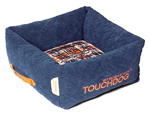 TOUCHDOG 'Exquisite-Wuff' Posh Rectangular Diamond Stitched Fashion Designer Quilted Fleece Pet Dog Bed Mat Lounge, Medium, Dark Blue, White