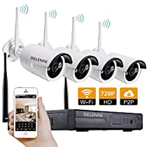 DELENNI 4CH WIFI NVR Wireless Security CCTV Cameras with 4 Outdoor Wireless 720P Wireless IP Night Vision Outdoor Surveillance CCTV Camera Home Security Surveillance Kits (720P No hard disk)