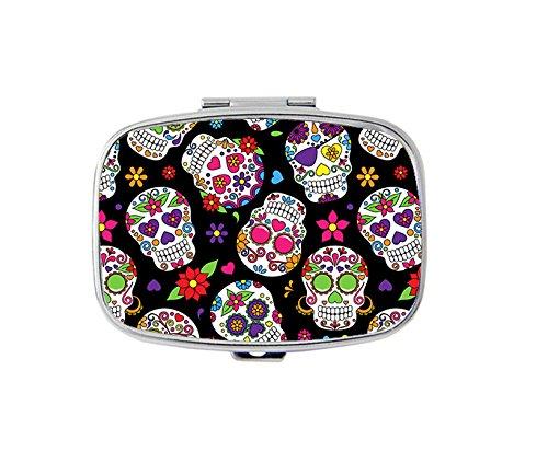 Day of the Dead Sugar Skull Rectangle pill box - 2 compartment Rectangle pill ()