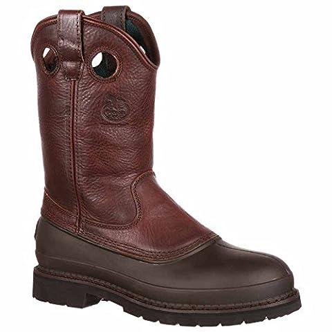Georgia Men's Pull-On Mud Dog Steel Toe Comfort Core Work Boot ,Brown Natural,11 M