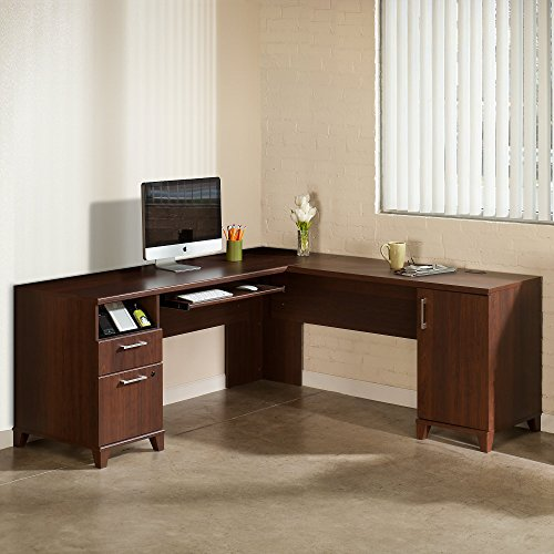 Bush Furniture Achieve L Shaped Desk in Sweet (Cherry Letter Tray)
