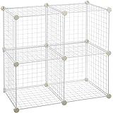AmazonBasics 4 Cube Grid Wire Storage Shelves, White
