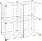 Amazon Basics 4 Cube Grid Wire Storage Shelves, White