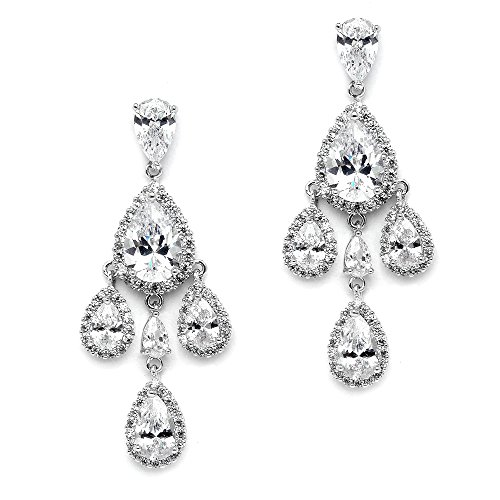 Mariell Clip On CZ Chandelier Bridal Prom Wedding Earrings - Silver Platinum Pear-Shaped Teardrop - Ons Clip Silhouette