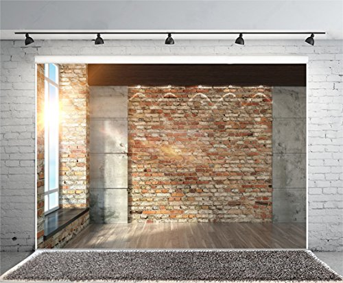 Leyiyi 7x5ft Photography Background Modern Room Interior Backdrop Vintage Brick Wall Window Sunlight Wooden Floor Cement Marble Study Inside Bedroom Living Room Corner Photo Portrait Vinyl Studio Prop]()
