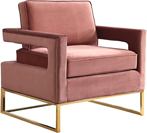 Meridian Furniture 511Pink Modern | Contemporary Pink Velvet Upholstered Accent Chair with Stainless Steel Base in a Rich Gold Finish, 33.5