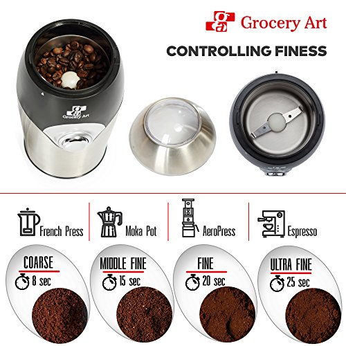 [Upgraded] Electric Coffee Grinder Blade Mill - Small & Compact Simple Touch Automatic Grinding Tool Appliance for Whole Coffee Beans, Spices, Herbs, Pepper, Salt & Nuts - Great Coffee Gift Idea! by Grocery Art (Image #1)