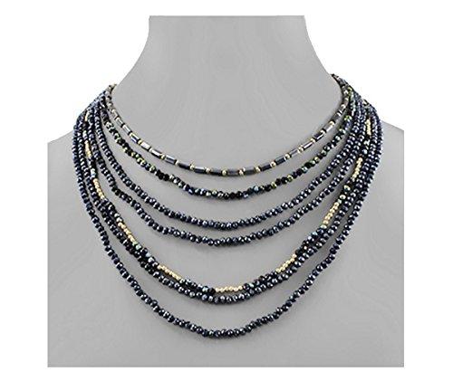 Golden Stella Glass Bead Layered Becklace-Montana