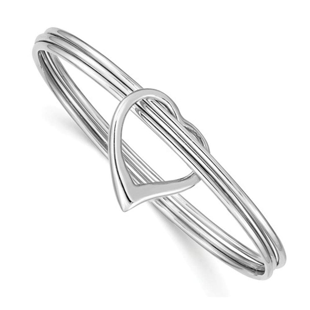 Brilliant Bijou Solid .925 Sterling Silver Rhodium-Plated Polished 3 Piece Heart Slip On Bangle 8 inches
