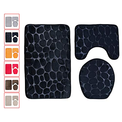 NANANA Non Slip Soft Bathroom Rug Set, Rectangular Floor Mat, U-Shaped Toilet Mat, Toilet Lid Cover, Solid Color Stone Rock Embossed Style Design, 3 Pieces,Black