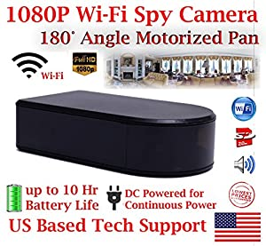 1080P HD WiFi Batttery Powered Black Box Spy Camera with 180° Degree Ultra Wide Viewing Angle and 10 Hour Battery Life Panoramic Spy Camera Hidden Nanny Cam Spy Gadget Spy Gear