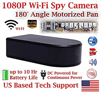 1080P HD WiFi Batttery Powered Black Box Spy Camera with 180° Degree Ultra Wide Viewing Angle and 10 Hour Battery Life Panoramic Spy Camera Hidden Nanny Cam Spy Gadget Spy Gear from AES Spy Cameras