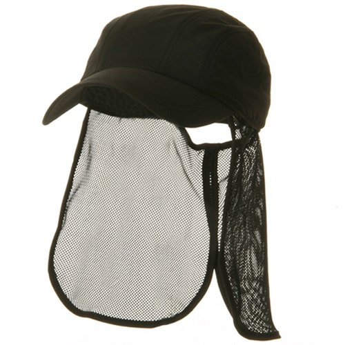 E4hats Mesh Flap Hat - e4Hats.com UV 5 Panel Tuck Away Flap Cap - Black