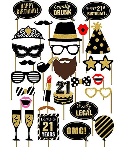 SWYOUN 29PCS 21st Old Year Birthday Party Supplies Masks Favor Photo Booth Props]()